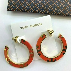 Tory Burch T-stripe Sweet Tangerine Hoop Earrings